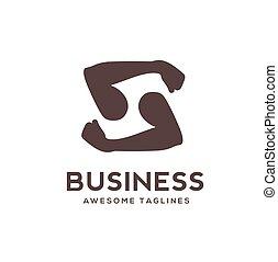 S Letter & hands sport gym logo