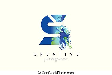 S Letter Icon Design Logo With Creative Artistic Ink Painting Flow in Blue Green Colors