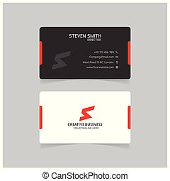S letter logo Minimal Corporate Business card with Black and White and Red Color