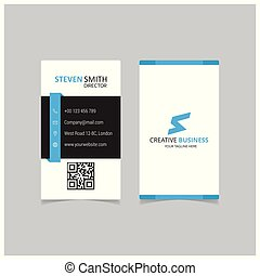 S letter logo Minimal Corporate Business card with Blue and White and Black Color
