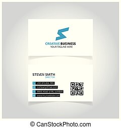 S letter logo Minimal Corporate Business card with Blue and White Color