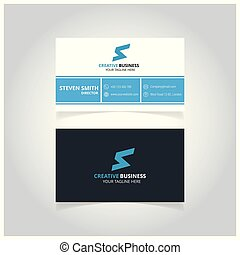 S letter logo Minimal Corporate Business card with Dark Blue, Light Blue and White Color