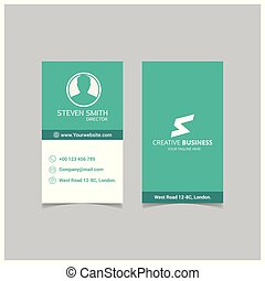 S letter logo Minimal Corporate Business card with Green and White Color