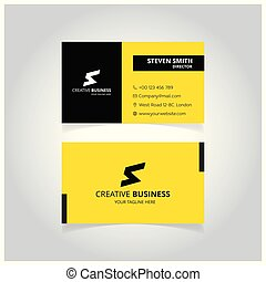 S Letter logo Minimal Corporate Business card with Jet Black and Dark Yellow Color