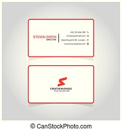 S letter logo Minimal Corporate Business card with Red and White Color