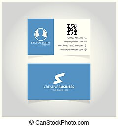 S letter logo Minimal Corporate Business card with White and Blue Color