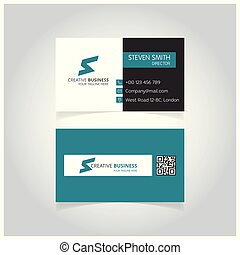 S letter logo Minimal Corporate Business card with White, Black and Green Color