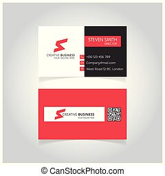S letter logo Minimal Corporate Business card with White Black and Red Color
