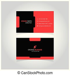 S letter man logo Minimal Corporate Business card with Black and Red Color