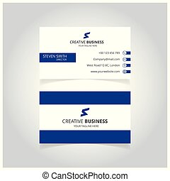 S letter man logo Minimal Corporate Business card with Blue and White Color