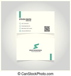 S letter man logo Minimal Corporate Business card with Green and White Color