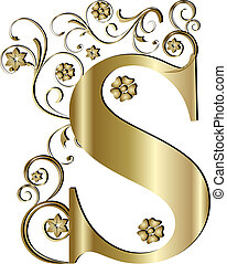 s, lettera, oro, capitale