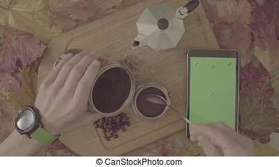 S-log. Autumn still life. Chroma key tablet and coffee -...