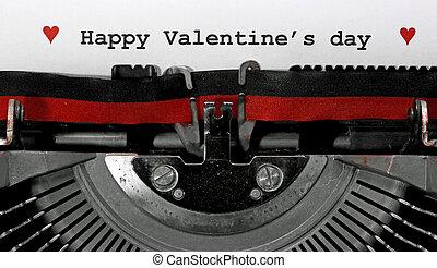 s, machine écrire, large, vieux, heureux, jour, valentin, texte, écrit