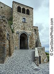 S. Maria doorway, Civita di Bagnoregio, Viterbo, Italy
