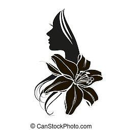 s, mulher, flor, rosto