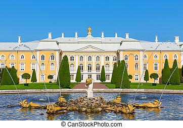 s., palacio, petersburg, rusia, peterhof
