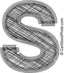 s, police, illustration, lettre