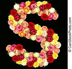 S, roses flower alphabet