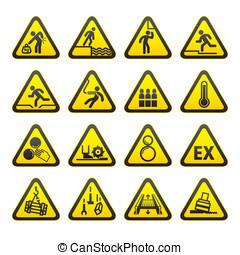 s, sæt, advarsel, trekantet, hazard