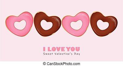 s, serce, valentine, donuts, dzień, mający kształt, szczęśliwy