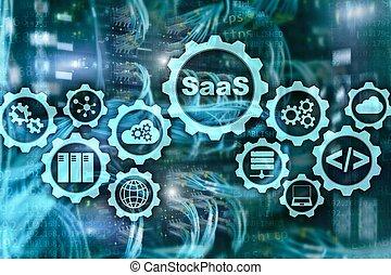s., servidor, moderno, concept., software, servicio, modelo, virtual, fondo., tecnología, pantalla, saa, habitación, demand.