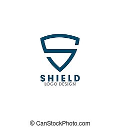S shield letter logo design vector illustration template