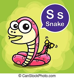 S Snake color cartoon and alphabet for children to learning vector illustration eps10