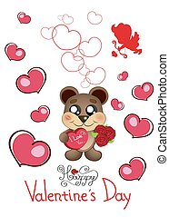s, valentin, jour, ours, teddy