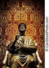 s., vaticano, italy), estatua, (rome, peter