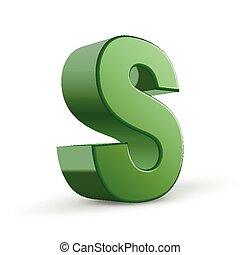 s, verde, letra, 3d