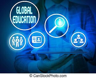 s, world., aumente, percepção, escrita, education., ensinado, global, showcasing, mostrando, um, idéias, foto, nota, negócio