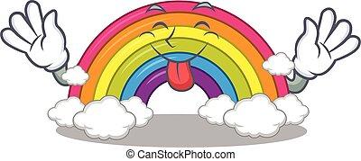 saída, arco íris, desenho, rosto, divertido, língua, caricatura