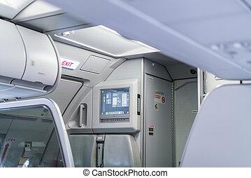 saída emergência, em, aeronave, .