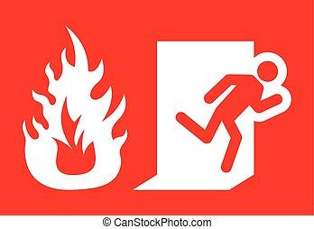 saída emergência, fogo