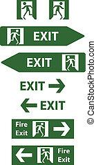 saída, emergência, sinais