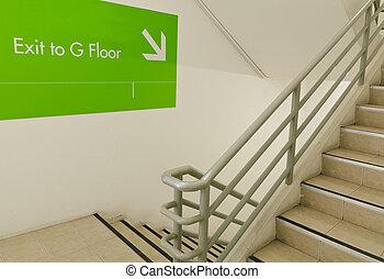 saída, escadaria, emergência