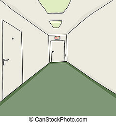 saída, escritório, corredor
