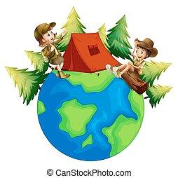 saída, floresta, acampamento, crianças