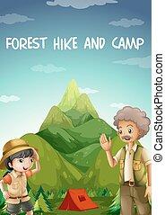 saída, floresta, acampamento, pessoas