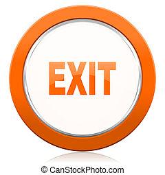saída, laranja, ícone
