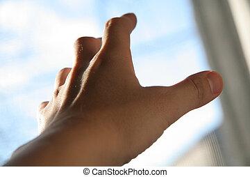 saída, mão, alcançar