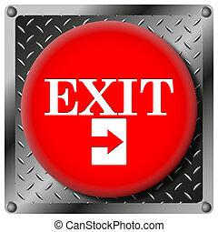 saída, metálico, ícone