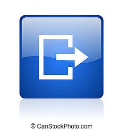 saída, quadrado azul, lustroso, teia, ícone, branco, fundo