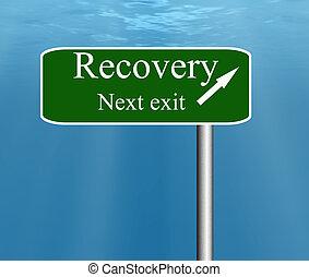 saída, recuperação, logo