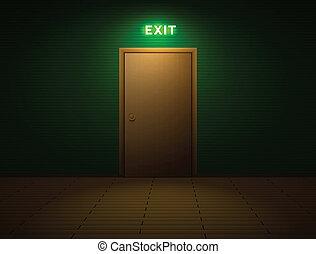 saída, sala, sinal
