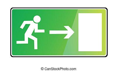 saída, sinal emergência