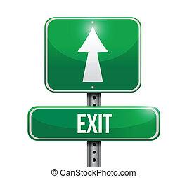saída, sinal estrada, ilustração, desenho