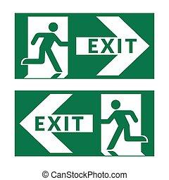 saída, verde, sinal