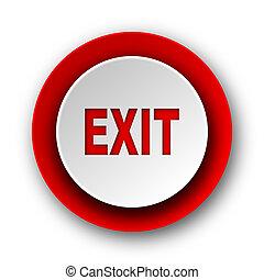 saída, vermelho, modernos, teia, ícone, branco, fundo